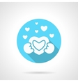 Round blue love confession flat icon vector image