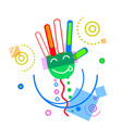 Abstract hand open palm sign doodle design vector image