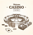 casino card or poster witch roulette wheel hand vector image