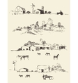 Drawn countryside rural landscapes fields hills vector image