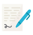 pen signing flat icon business contract signature vector image