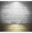White wooden room with tiled floor vector image