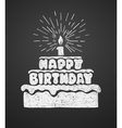 Cake with a candle and happy birthday text vector image