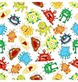 Seamless pattern of funny cartoon monsters vector image vector image