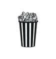 Popcorn simple black icon on white background vector image
