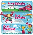 cute banners for valentines day vector image vector image
