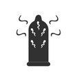 black icon on white background condom and vector image