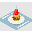 4 years birthday burger Number four with candle vector image
