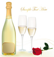 background with shampagne with rose vector image vector image