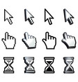 cursor hand arrow hourglass vector image