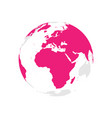 earth globe with pink world map focused on africa vector image