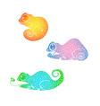 hand drawn doodle chameleon set vector image