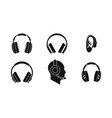headphones icon set simple style vector image
