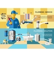 Colored Plumbing Concept Banner Set vector image vector image