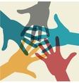 Team symbol Multicolored hands Vector Image