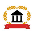 emblem with parthenon with olive branchs and vector image