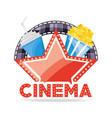 Cinema wih soda and popcorn with filmstrip scene vector image