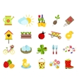 spring icons flat style set vector image