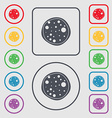 Pizza Icon Symbols on the Round and square buttons vector image