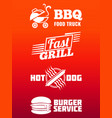 fast food labels collection - bbq fast food and vector image