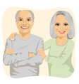 Happy smiling senior couple embracing together vector image