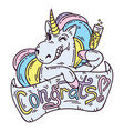 unicorn with glass of champagne vector image