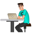 Young man sitting and working on laptop computer vector image