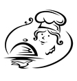 Woman chef with tray vector image vector image