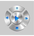 Shiny metal media player joystick vector image vector image