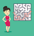 business woman looking at labyrinth with solution vector image