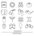june month theme set of simple outline icons eps10 vector image