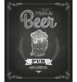 Poster with Beer in mag Chalk drawing vector image