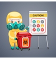 Caution Biohazard Poster with Doctor and Flipchart vector image