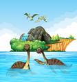 Dinosaurs living in the ocean vector image