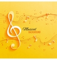 Seamless yellow pattern with music notes and key vector image