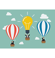 Businessman in lightbulb balloon fly pass his vector image