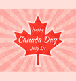 Happy Canada Day on Maple Leaf vector image