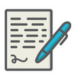 pen signing colorful line icon business contract vector image