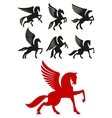 Pegasus horses icons for heraldic design vector image vector image