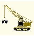 monochrome icon set with construction equipment vector image
