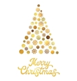 Christmas tree with gold glitter hand lettering vector image