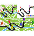 set of winding roads with signs on the map of the vector image