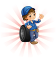 A boy in front of a wheel with a blue cap vector image