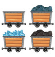 mining carts loaded with stones and diamond vector image