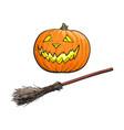 hand drawn halloween symbols - pumpkin lantern and vector image