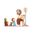 grandmother with child retro cartoon vector image