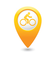 cyclist symbol map pointer yellow vector image