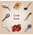 Cookbook set eight icons of dishes vector image