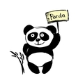Little cute panda isolated on white hand vector image