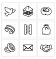 Set of Dovecote Icons Pigeon feeders nest vector image